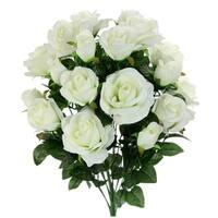 18 Stems Artificial Rose Buds Mixed Flower Bush