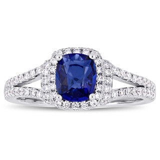 Miadora Signature Collection 14k White Gold Cushion-Cut Sapphire and 1/2ct TDW Diamond Halo Split Shank Engagement Ring