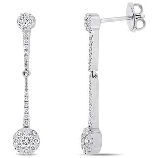 Miadora Signature Collection 14k White Gold 5/8ct TDW Diamond Vintage Flower Dangle Earrings