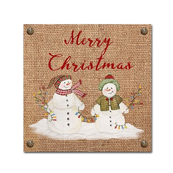 Jean Plout 'Christmas On Burlap 1' Canvas Art 30066838