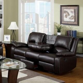 Furniture of America Taveren Transitional Rustic Dark Brown Reclining Sofa With Dropdown Back