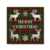 Jean Plout ' Merry Christmas Plaid 7' Canvas Art