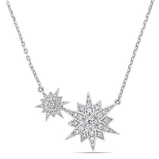 Miadora Signature Collection 14k White Gold 2/5ct TDW Diamond Dual Connected Star Station Necklace
