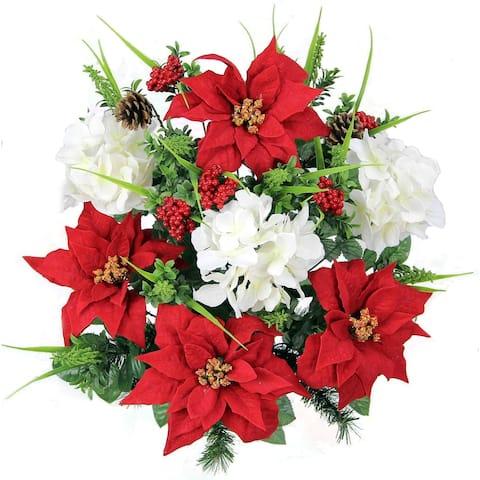 Artificial Poinsettias Hydrangea Christmas Mixed Flower Bush