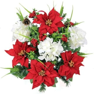 Silk flowers christmas store shop our best holiday deals online at artificial poinsettias hydrangea christmas mixed flower bush mightylinksfo