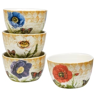 Certifed International Poppy Garden Set of 4 Assorted Designs Ice Cream Bowls