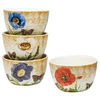 Certifed International Poppy Garden Set of 4 Assorted Designs Ice Cream Bowls