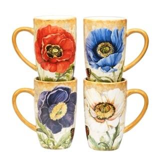 Certified International Poppy Garden Set of 4 Assorted Designs 14 oz. Mugs
