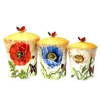 Certified International Poppy Garden 3 piece Canister Set