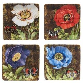 Certified International Poppy Garden Set of 4 Assorted Dinnerware Plates