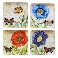Certified International Poppy Garden Set of 4 Assorted Salad Plates