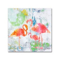 Jean Plout 'Tropical Flamingos' Canvas Art