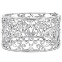 Miadora Signature Collection 14k White Gold 3-1/4ct TDW Diamond Filigree Openwork Cuff Bracelet