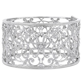 Miadora Signature Collection 14k White Gold 3-1/4ct TDW Diamond Filigree Openwork Cuff Bracelet