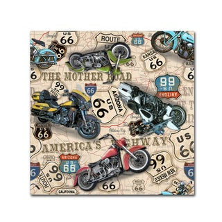 Jean Plout 'Vintage Motorcycles On Route 66 9' Canvas Art