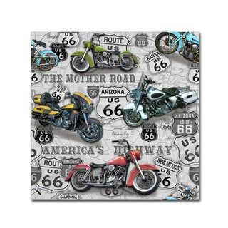 Jean Plout 'Vintage Motorcycles On Route 66 2' Canvas Art