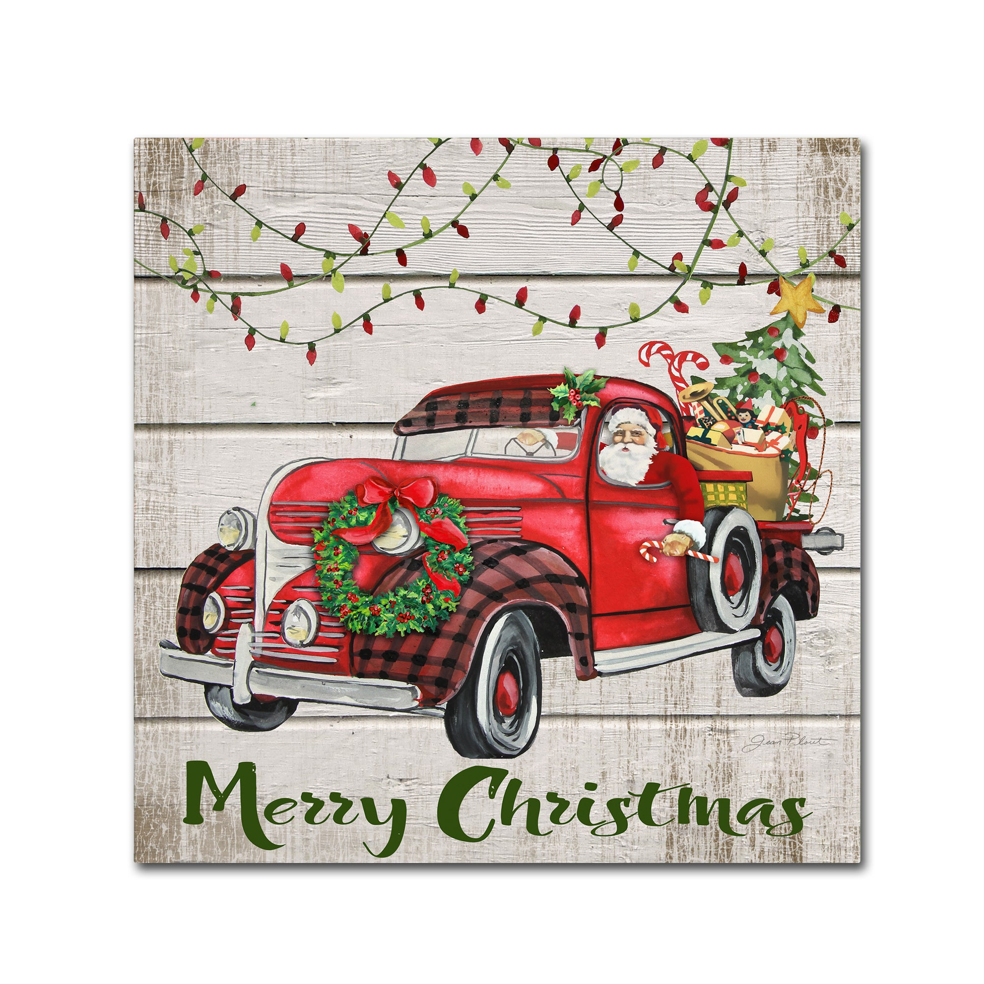 Jean Plout Vintage Christmas Truck 3 Canvas Art Overstock 18047594