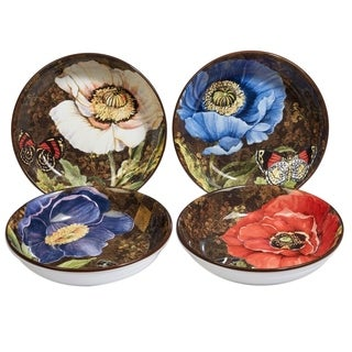 Certified International Poppy Garden Set of 4 Assorted Soup Pasta Bowls
