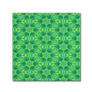 Cora Niele 'Stained Glass Green Pattern' Canvas Art