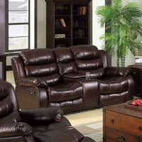 Furniture of America Berkshield Transitional Dark Brown Leather-like Reclining Loveseat with Console