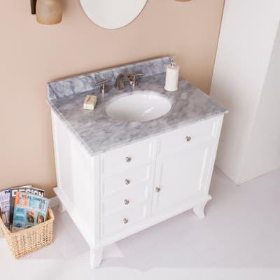 SEI Furniture Washington Bath Vanity Sink w/ Marble Counter Top - White w/ Gray
