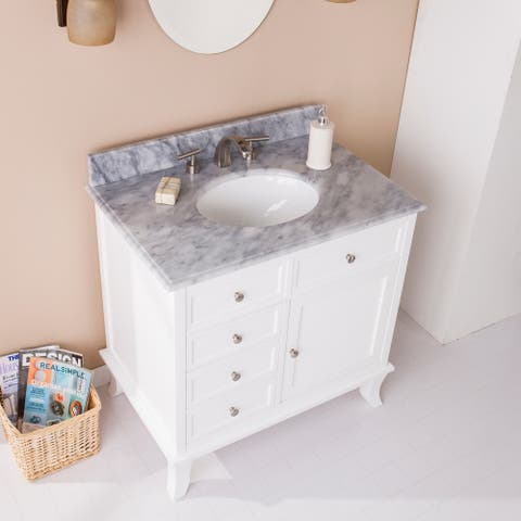 Washington Bath Vanity Sink w/ Marble Counter Top - White w/ Gray