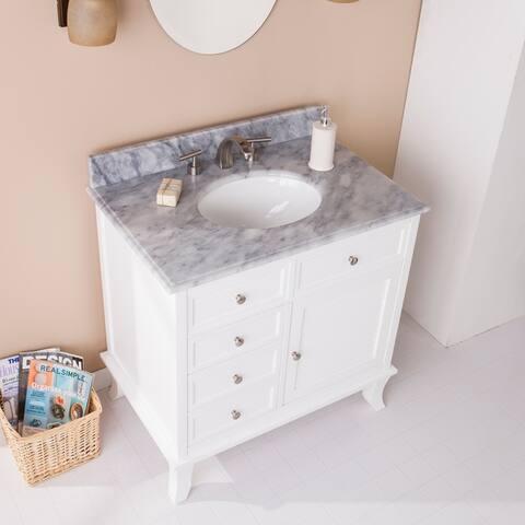Washington Bath Vanity Sink w/ Marble Counter Top - White w/ Gray