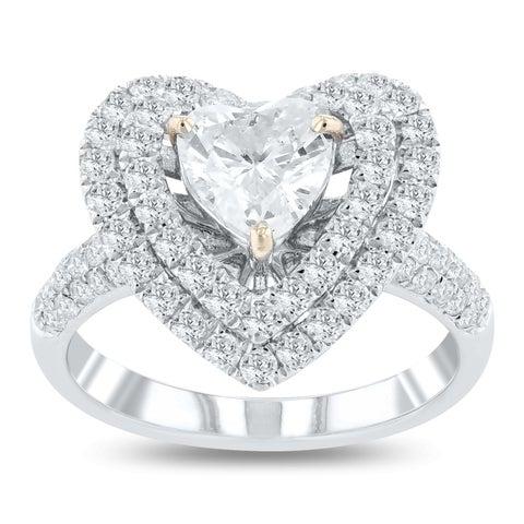 Auriya 18k White Gold Certified 1 7/8ct TDW Heart Shaped Diamond Halo Engagement Ring