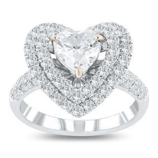 Auriya 14k White Gold Certified 1 7/8ct TDW Diamond Ring - White G-H
