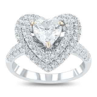 Auriya 18k White Gold Certified 1 7/8ct TDW Heart Shaped Diamond Halo Engagement Ring (More options available)