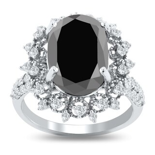 Auriya 14k White Gold 7 7/8ct TDW Vintage Oval Cut Black Diamond Halo Engagement Ring (More options available)