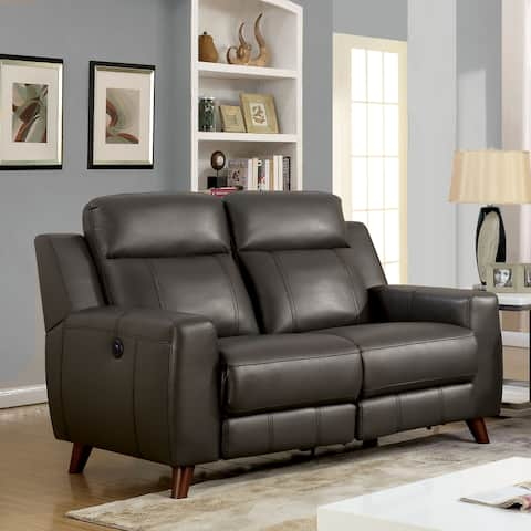 Furniture of America Transitional Grey Reclining Loveseat with USB