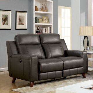 Furniture of America Tepperen Contemporary Grey Leather Gel Loveseat