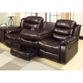 Furniture of America Berkshield Transitional Dark Brown Leather-like Reclining Sofa with Dropdown Back