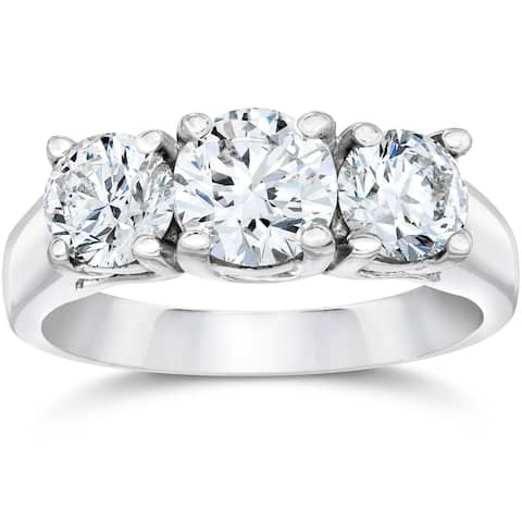 Pompeii3 14k White Gold 2ct TDW Diamond Clarity Enhanced Three Stone Engagement Ring