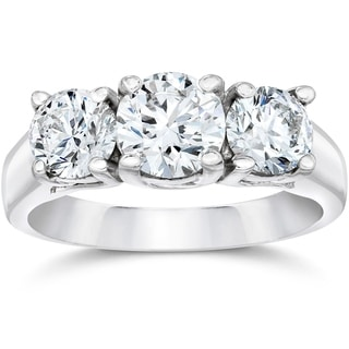 Link to Pompeii3 14k White Gold 2ct TDW Diamond Clarity Enhanced Three Stone Engagement Ring Similar Items in Rings