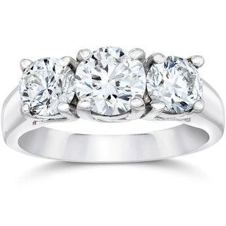 Bliss 14k White Gold 2 ct TDW Diamond Clarity Enhanced Three Stone Engagement Ring