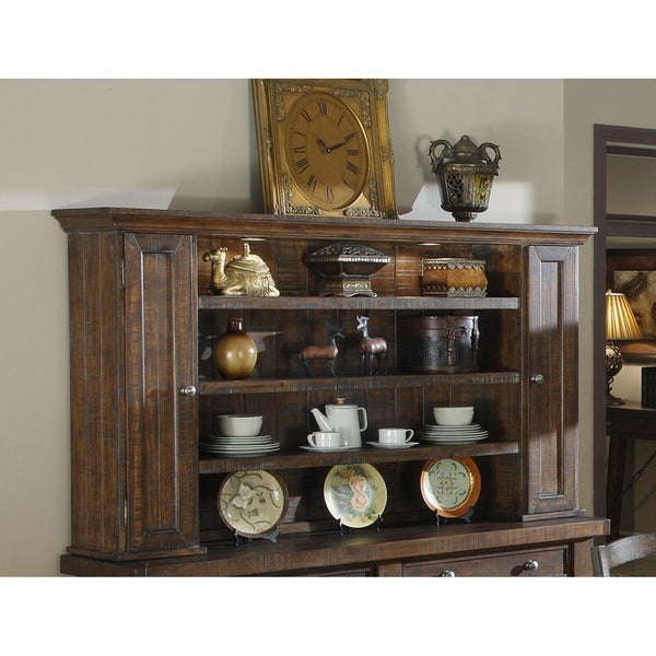 Shop Emerald Home Castlegate Pine Brown Hutch With Open Shelving And Touch Lighting