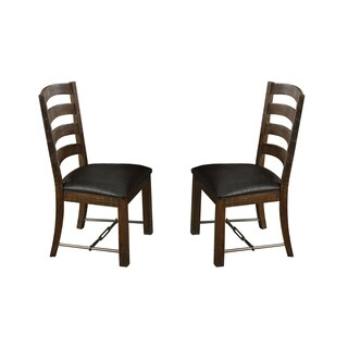 Emerald Home Castlegate Dining Chair with Bonded Leather Seat (Set of 2)