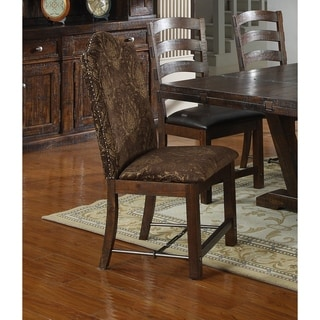 Emerald Home Castlegate Pine Brown Upholstered Dining Chair with Nailhead Trim And Turnbuckle Bracing, Set of Two