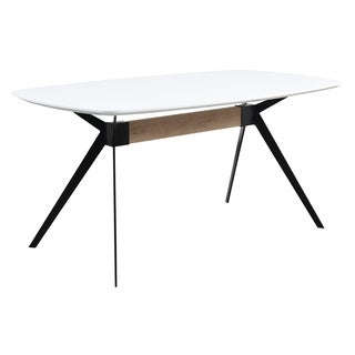 Emerald Home Allison White/Black Metal Dining Table