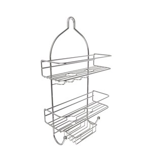 3-Tier Shower Caddy with Shelves and Hooks- Satin Finish by Windsor Home