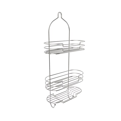 Tall Shower Caddy with Shelves and Hooks- Showerhead Bath Organizer Satin Finish by Windsor Home