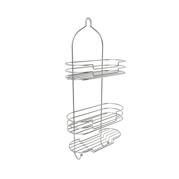 Tall Shower Caddy With Shelves And Hooks  Showerhead Bath Organizer Satin  Finish By Windsor Home