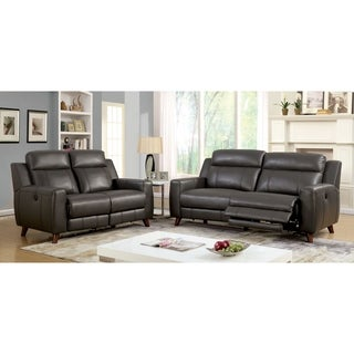 Furniture of America Tepperen Contemporary 3-piece Grey Leather Gel Upholstered Sofa Set
