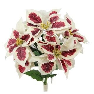 5 stems artificial poinsettia christmas flower bush