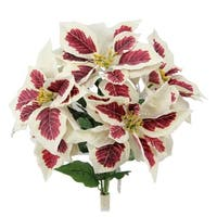 5 Stems Artificial Poinsettia Christmas Flower Bush