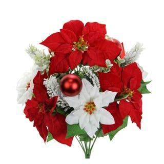 12 Stems Faux Velvet Poinsettia Christmas Flower Bush|https://ak1.ostkcdn.com/images/products/18048224/P24213152.jpg?impolicy=medium