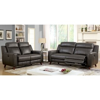 Furniture of America Tepperen Contemporary 2-piece Grey Leather Gel Upholstered Sofa Set