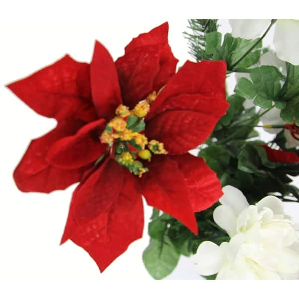 18 Stems Faux Peony Velvet Poinsettia Christmas Bush Overstock 18048287 Red Cream